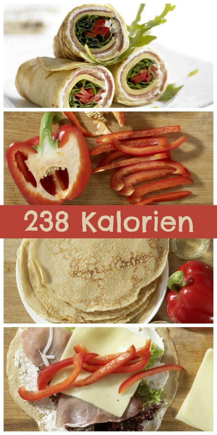 Köstlicher Snack mit herzhafter Füllung: Pfannkuchen-Wraps mit Käse und Schinken | http://eatsmarter.de/rezepte/pfannkuchen-wraps