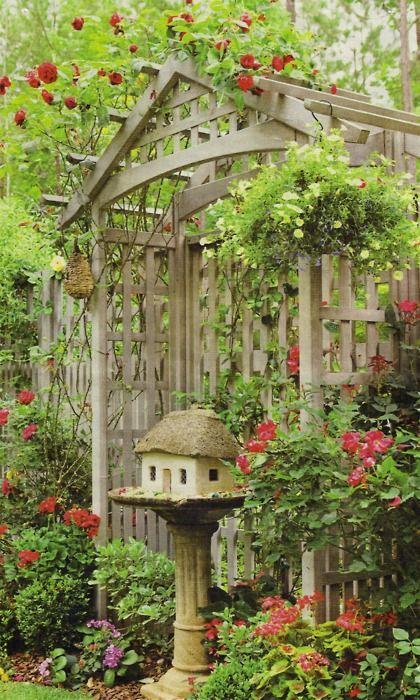 try a bird house in a bird bath, this whole setting is pretty: Birdhouses, Gardens Ideas, Birdbaths, Little House, Climbing Rose, Fairies House, Red Rose, Birds House, Birds Bath