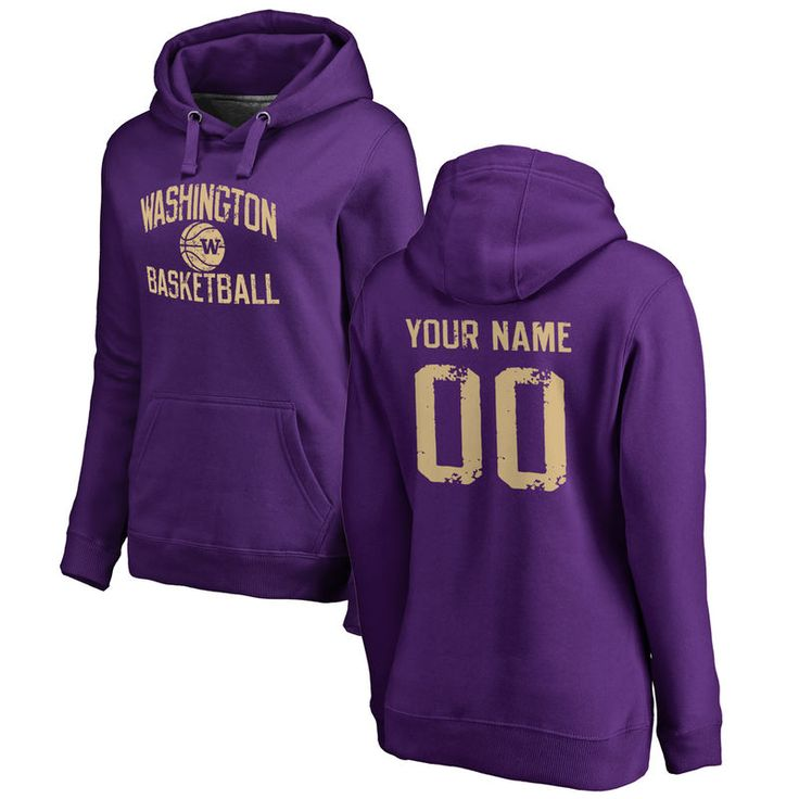 Washington Huskies Women's Personalized Distressed Basketball Pullover Hoodie - Purple