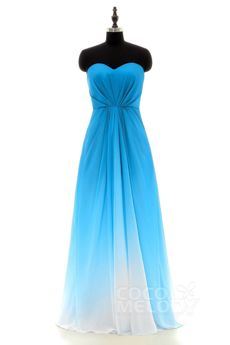 Charming Sweetheart Natural Floor Length Ombre Chiffon Sleeveless Dress With Pleating Lozf15045