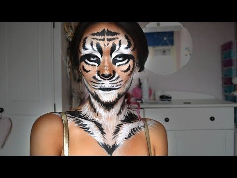 Tiger Halloween Makeup Tutorial - ShelingBeauty - YouTube