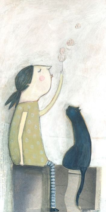 Leonor Perez - sweet illustration of a girl with her cat