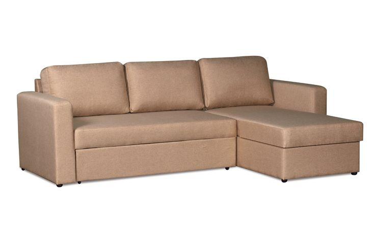 """Диван-кровать Дублин, ткань бежевая. Универсальный диван на все случаи жизни! Компактный и функциональный, имеет нейтральный цвет обивки, поэтому легко впишется в любой современный интерьер. Угловой диван-кровать """"Дублин"""" рассчитан на ежедневное использование в качестве спального места. Найдется место для постельного белья в угловой подъемной секции. Если вы захотите переставить его в другую комнату — не проблема! Направление угла легко поменять в домашних условиях."""