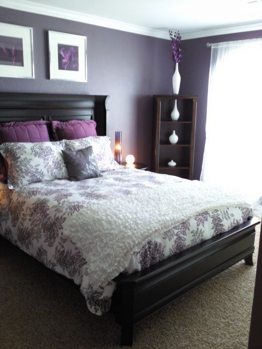 Painted in Expressive plum, wall decor from ikea, random bookshelf, vases (ikea), sheer curtains, bed spread and pillows (target) , Bedrooms Design