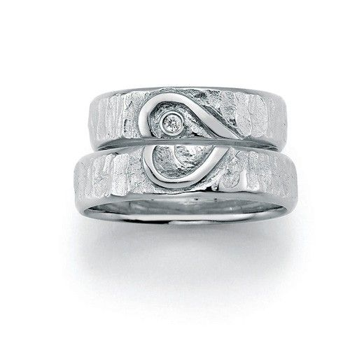 Vielses- og forlovelsesringe i sølv med kærlighedssymbolet 'Hjerte' -SØLV