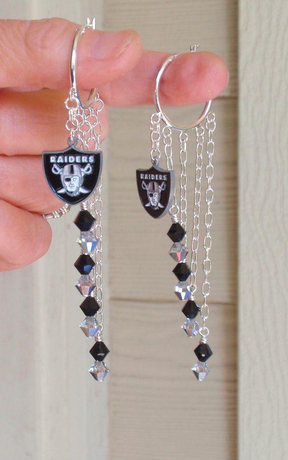 Oakland Raiders Earrings Raiders Bling Black and by scbeachbling