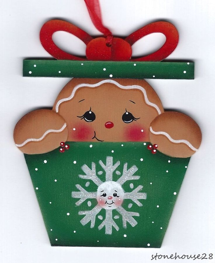 HP GINGERBREAD in a Present ORNAMENT #Handpainted