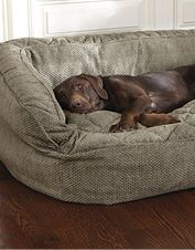 This handsome dog bed cover with bolster provides supreme comfort.