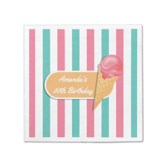 Ice Cream Birthday Party personalized Paper Napkin