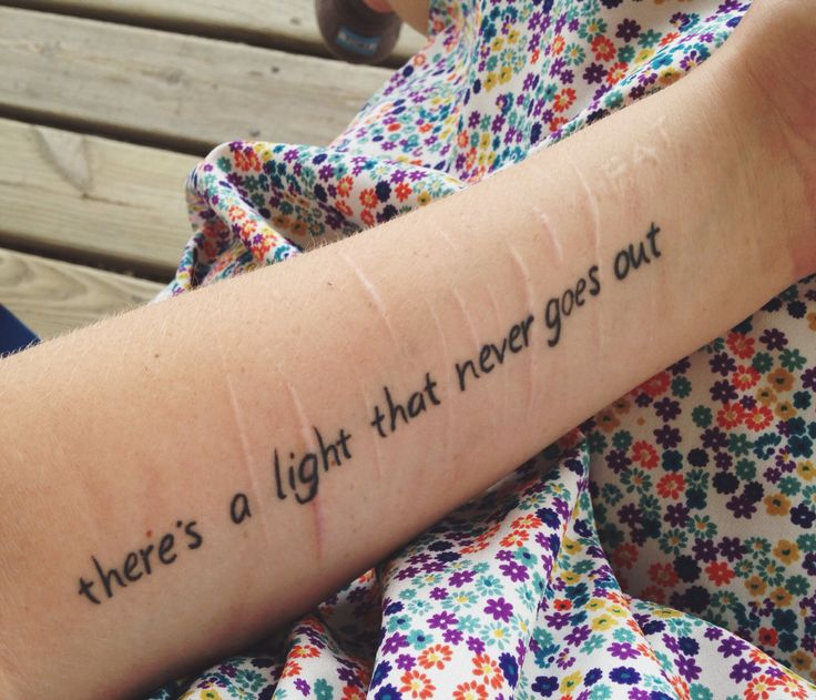 my most recent tattoo. I've suffered from self harm and eating disorders but the battle is over because there's a light that never goes out.