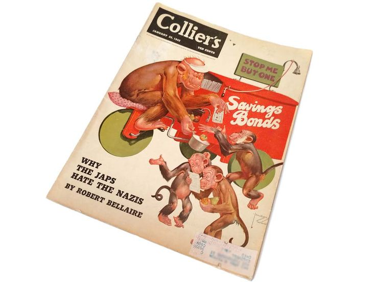 Collier's Magazine January 23 1943 Lawson Wood Chimp Monkey Family WWII Wartime Buy Savings Bonds Back Issue Magazine Monkey Art by CollectionSelection on Etsy