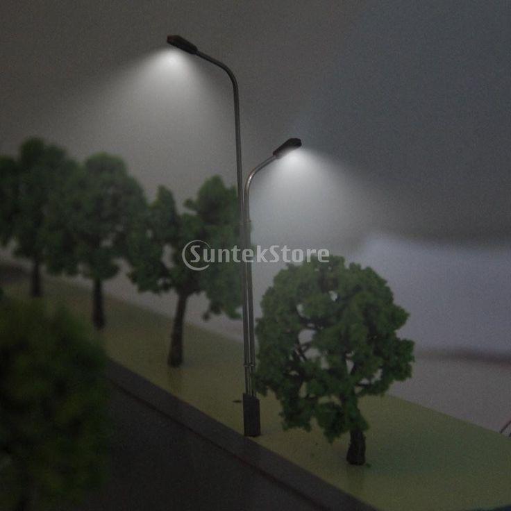 8.5-11 cm Model Train Layout Scenery Street Lights Lamppost 2-Head Scale #modeltrainlayouts #modeltraintips