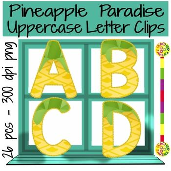 Think Ocean breezes, tropical islands and sweet pineapples. Why not bring a little bit of paradise in the classroom! This uppercase alphabet clipart set has 26 elements to enhance your decor and/or creations. All are png format and 300 dpi so they size with clarity.