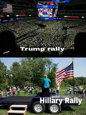 There's actually an American flag at her rally? It seems so sad that it's forced to hang there. I feel sorry for it. It's being used as a fake prop.