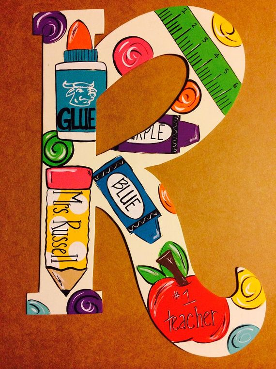 Teacher themed letter by JAGARToriginals on Etsy