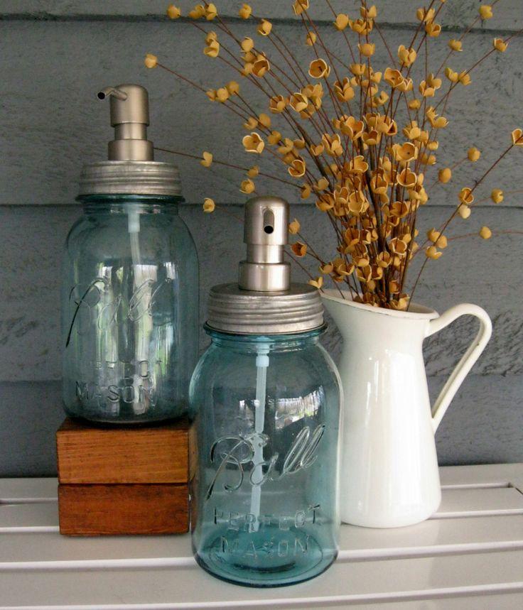 Mason Jar Quart Soap Dispenser with Stainless Steel Pump - Blue. $23.00, via Etsy.