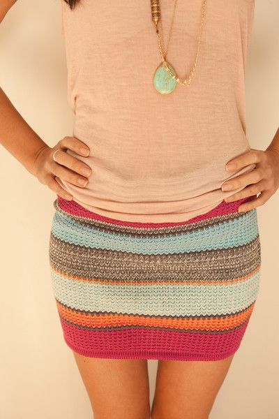 A brightly knitted skirt, perfect for summer!