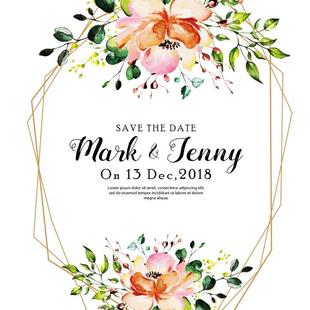 Beautiful Watercolor Floral Wedding Invitation Card Wedding Menu