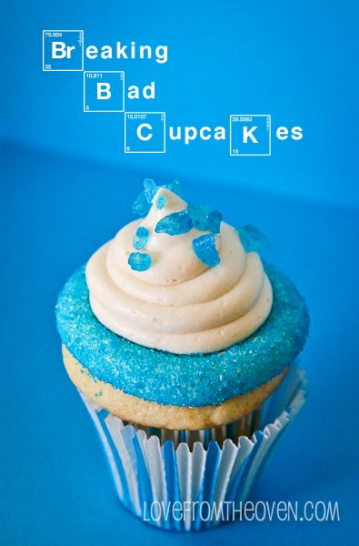 Blue Cupcakes for Breaking Bad--- i love food and pinning! And now that I am in the time of my life where I am not anymore scared of trying things; definitely giving it a go. Gotta love Pinterest!