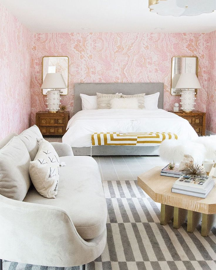 Millennial Pink Bedroom: Designer Sarah Sherman Samuel goes bold with pink in the Guest Suite she designed for Kelly Golightly's Palm Springs home/The Modernism Week Show House.