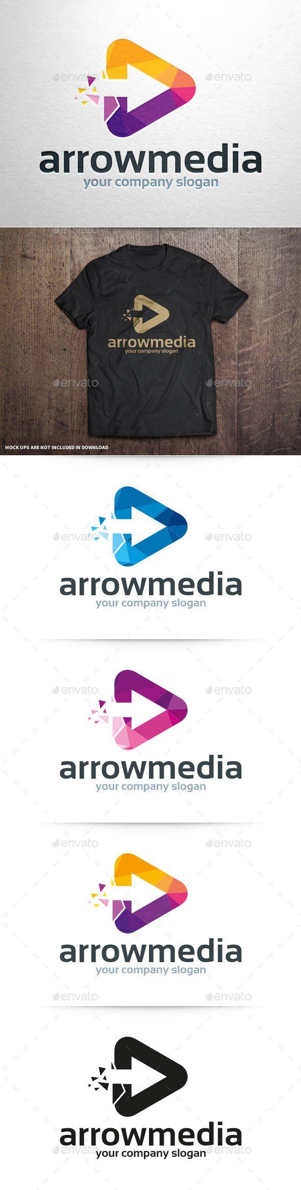 Arrow Media Logo Template #vector #logo #template #design #arrow #triangle…