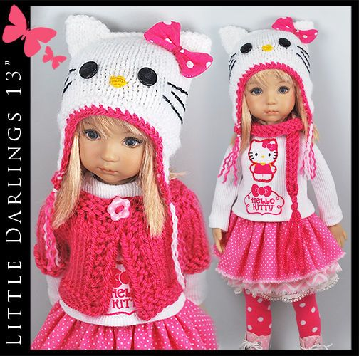 """** HELLO KITTY ** Outfit for Little Darlings Effner 13"""" by Maggie & Kate Create"""