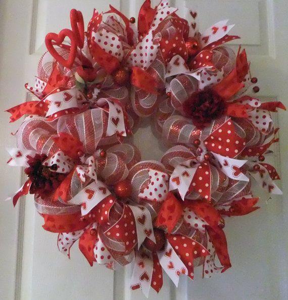 Red and White Valentine Wreath, Deco Mesh Valentine, Sweet Valentine Wreath