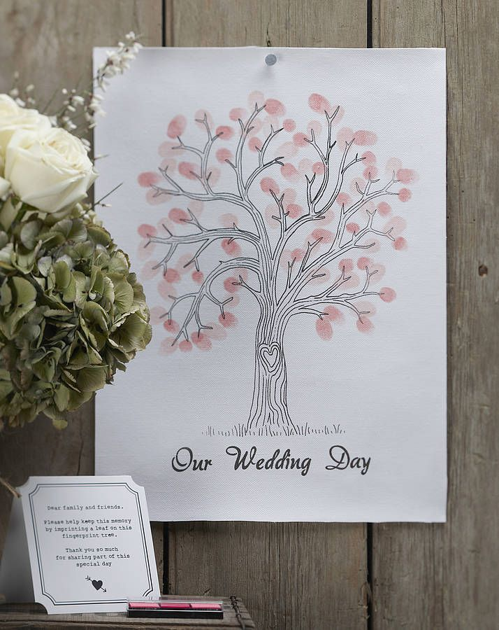 'our wedding day' finger print tree kit by ginger ray | notonthehighstreet.com