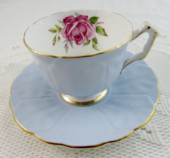 Aynsley Blue Tea Cup and Saucer with Pink Rose