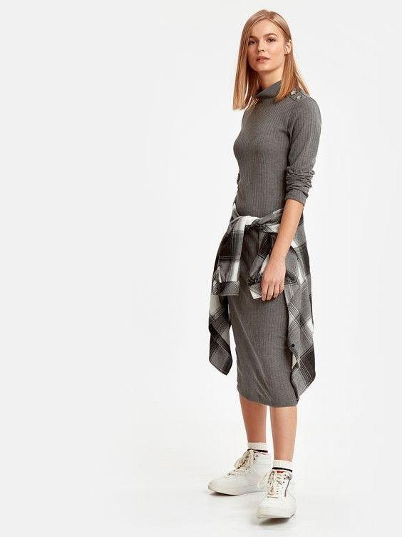 285407e0b9173 lcw Bayan Elbise Modelleri Gri Midi Uzun Kol Yarım Balıkçı Yaka Beyaz Spor  Ayakkabı #moda #fashion #outfits #outfitoftheday #outfitsfashion #dresses #  ...