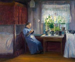 Jacob Kielland Sømme (1862-1940): Interior, 1891