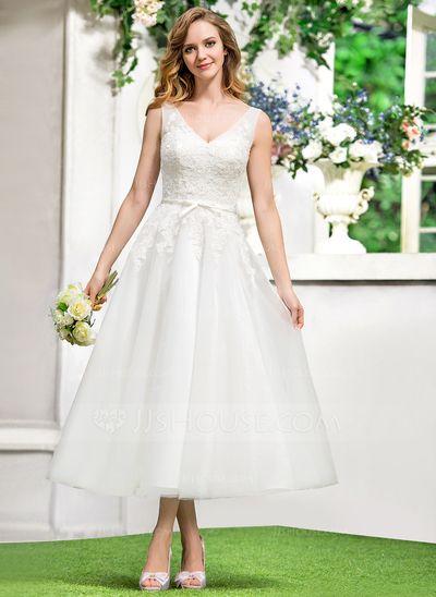 A-Line/Princess V-neck Tea-Length Satin Tulle Wedding Dress With Lace Bow(s) (002052767)