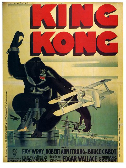 King Kong movie poster, 1933 (art by Rene Carron). #vintage #1930s #movies