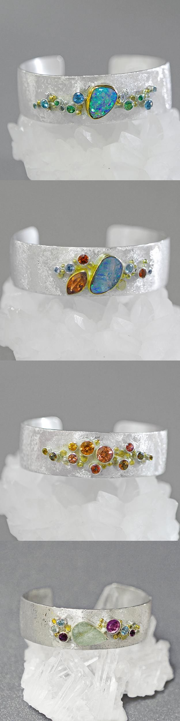 Not sure Id have the patience for all the bezel setting, but loving the mix of stones and silver on this cuff. WOMEN'S JEWELRY http://amzn.to/2ljp5IH