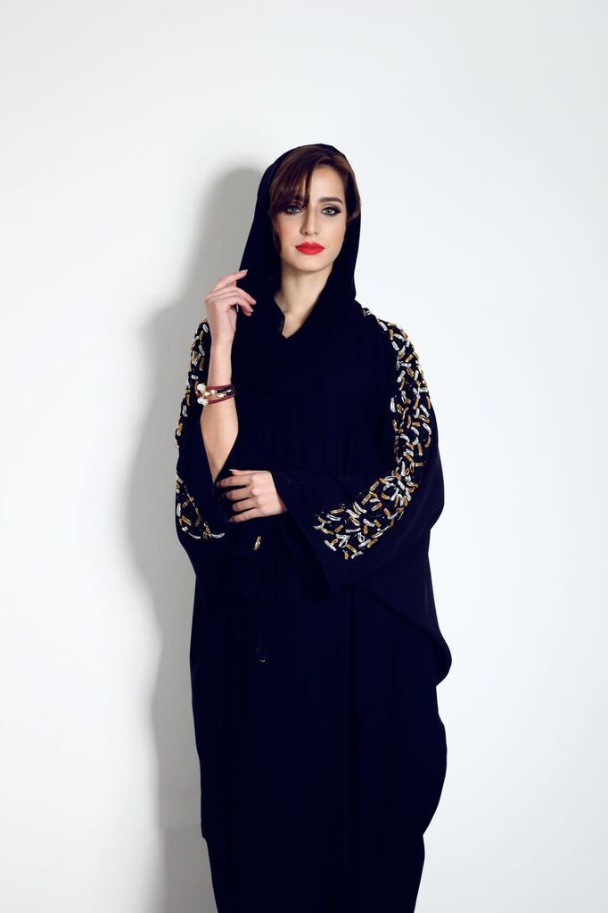 Our beautiful bat wing abaya with god and silver sleeve embelishment is available now from our website for only £120