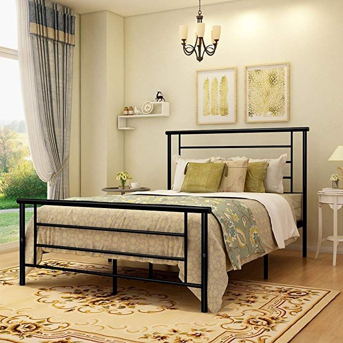Amazon Com Metal Bed Frame Queen Size With Headboard And