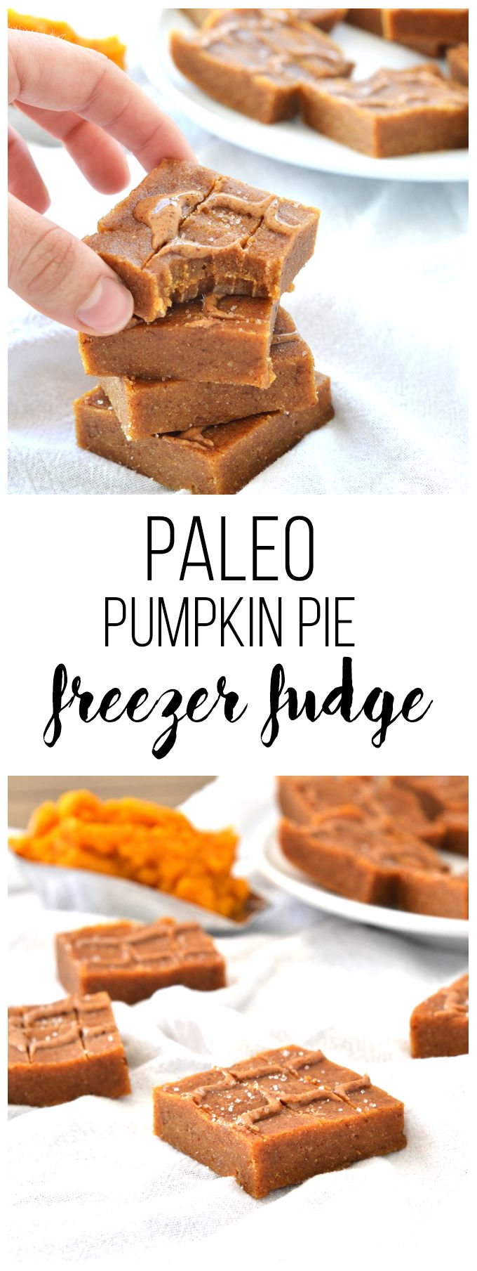 This Paleo Pumpkin Pie Freezer Fudge is the perfect clean & easy fall treat!