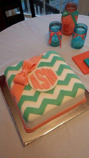 Monogrammed chevron cake