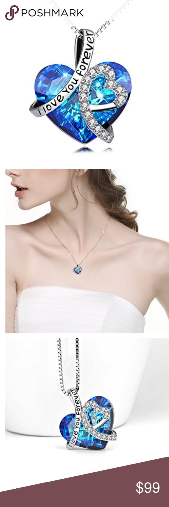 """🔥Heart Pendant Necklace with Swarovski Crystals Sterling Silver """"I Love You Forever"""" engraved Heart Pendant Necklace with Swarovski Crystals HIGH-QUALITY: Hypoallergenic 925 sterling silver,cubic zirconia with bermuda blue heart crystals from Swarovski®  Pendant size:0.85 inch*0.74 inch(21.7*18.9 mm), Chain length:18 inch(box chain)   📌SHIPPING 📦: Please allow 1-2 business days. I got to pick it up from my business.  📌BUNDLE & SAVE: 10% discounted on 3+ items when BUNDLE. + FREE SHIPPING…"""