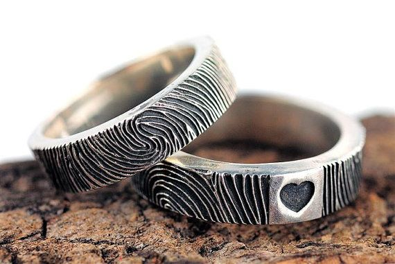 Fingerprint Wedding Band Ring Heart Sterling Silver Jewelry on Etsy, $299.99
