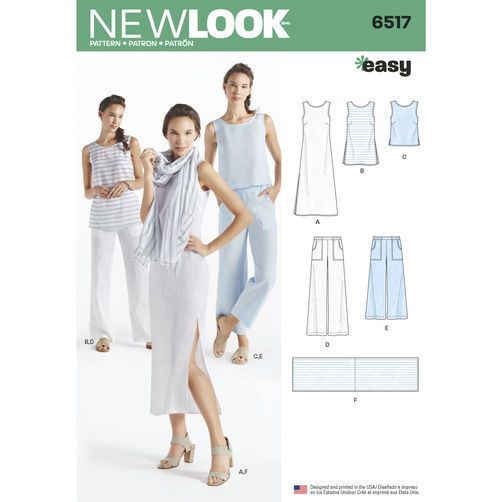 New Look Pattern 6517 Misses' Dress, Tunic, Top, Pants, and Scarf
