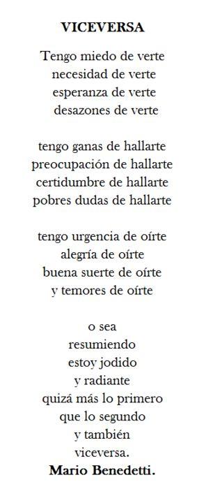Poema que mi gran amor una vez me dedico.. Jamas te olvidare..A.E Viceversa - Mario Benedetti