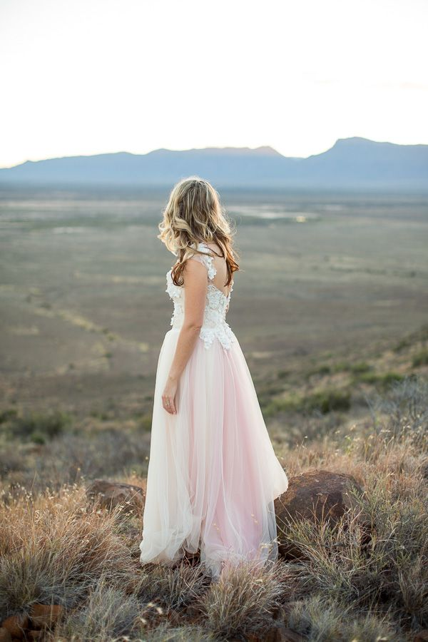 Soft tulle wedding gown in Champagne and Pink vertical ombre.  Dress by Janita Toerien Wedding Gowns Photo by Lizelle Lotter