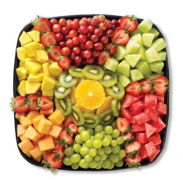 pretty fruit dish, (use tiny forks, toothpicks or small spoons to avoid fingers)