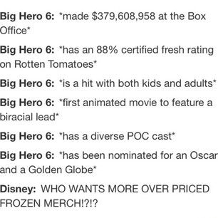 As much as I love frozen.... Seriously!? Can we just give big hero 6 some time to be the center of attention? For real