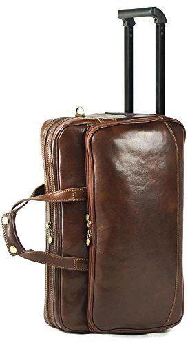 Genuine Italian Leather Rolling Travel Bag Holdall Hand Luggage Duffel Bag Weekend Overnight Brown Unisex (Hand Luggage): Amazon.co.uk: Luggage