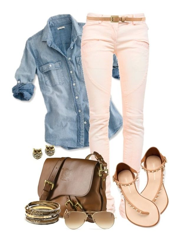 Spring Outfit: Fashion, Jeans Shirts, Style, Clothing, Pink Pants, Denim Shirts, Sandals, Pink Jeans, Spring Outfits