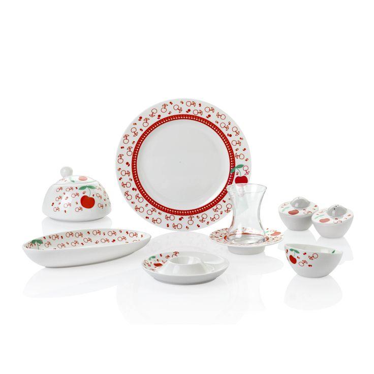 Bernardo Cherry Kahvaltı Takımı / Breakfast Set #bernardo #bonechina #breakfasttime #teatime #tabledesign #red #kirmizi #kiraz