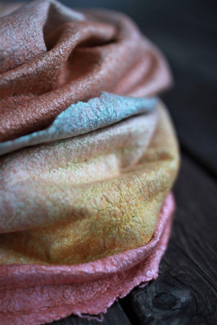 Chunky scarf women scarf felted scarf orange merino wool scarf infitiny scarf wool hood silk cowl hooded scarf ombre scarf neck warmer by AureliaFeltStudio on Etsy