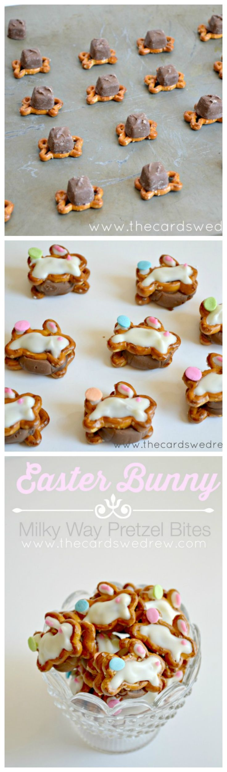 325 best easter recipes and other goodies images on pinterest milky way caramel pretzel bunny bites make the perfect easter treat or gift idea negle Images